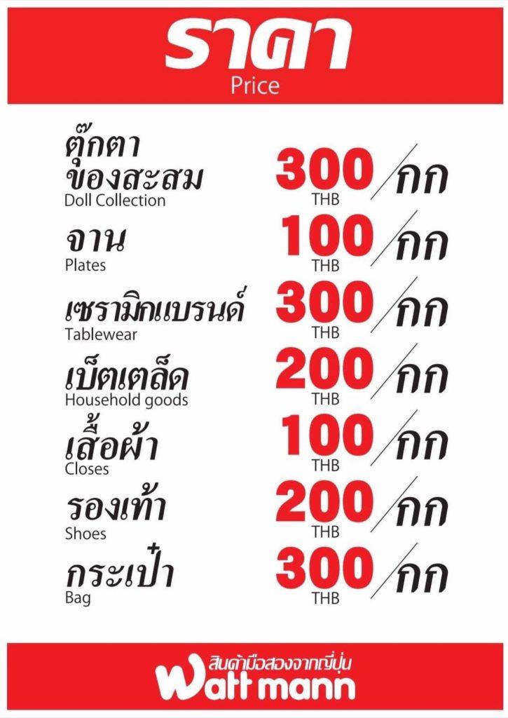 プレックサー店は量り売りで、人形1キロ300バーツ、お皿1キロ100バーツ、セラミック1キロ300バーツ、衣類1キロ100バーツ、靴1キロ200バーツ、カバン1キロ300バーツ